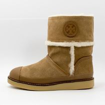 Tory Burch Round Toe Suede Plain Ankle & Booties Boots