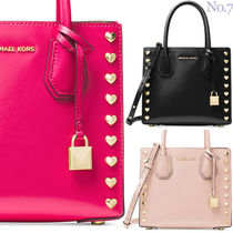 Michael Kors MERCER Heart Casual Style Studded Street Style 2WAY Plain Leather