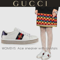 GUCCI Rubber Sole Casual Style Leather With Jewels