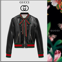 GUCCI Casual Style Plain Leather Biker Jackets