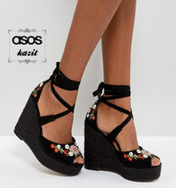 ASOS Flower Patterns Casual Style Wedge Pumps & Mules
