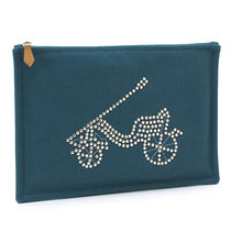 HERMES Unisex Studded Plain Pouches & Cosmetic Bags