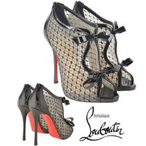 Christian Louboutin Open Toe Blended Fabrics Leather Pin Heels Elegant Style