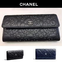 CHANEL Studded Plain Leather Long Wallets