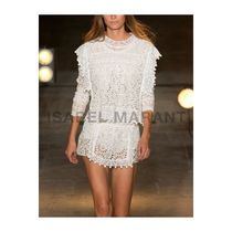 Isabel Marant Crew Neck Short Flower Patterns Long Sleeves Cotton Cropped
