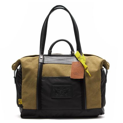 Casual Style Canvas Blended Fabrics A4 Khaki Totes