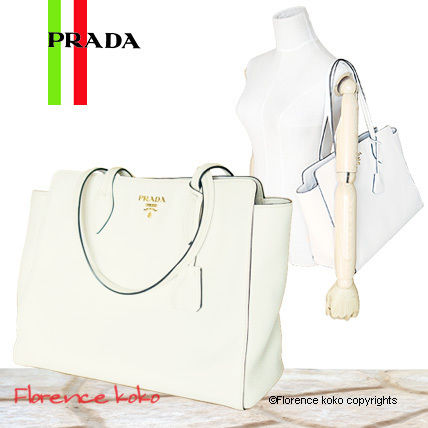PRADA Totes Talco White Vitello Daino Large Tote Bag