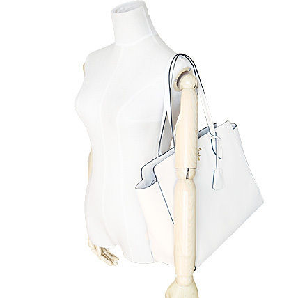 PRADA Totes Talco White Vitello Daino Large Tote Bag 5