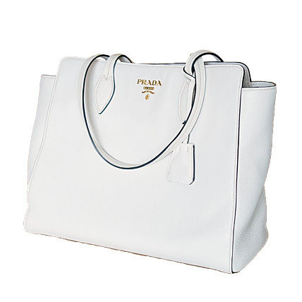 PRADA Totes Talco White Vitello Daino Large Tote Bag 6