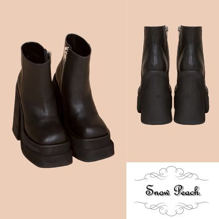 Platform Casual Style Plain Leather Ankle & Booties Boots