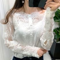 Puffed Sleeves Lace Elegant Style Shirts & Blouses