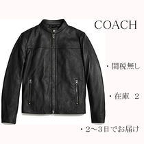 Coach Plain Leather Biker Jackets