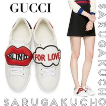 GUCCI Rubber Sole Lace-up Leather Low-Top Sneakers