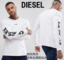 DIESEL Crew Neck Long Sleeves Cotton Logos on the Sleeves