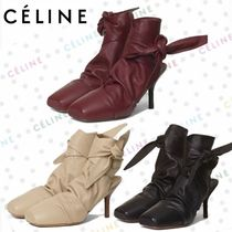 CELINE Leather Pin Heels Ankle & Booties Boots