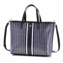 Tory Burch GEMINI LINK Stripes Casual Style 2WAY PVC Clothing Totes