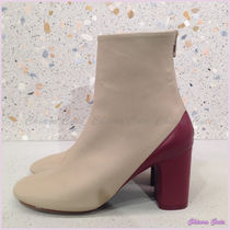 CELINE Round Toe Bi-color Plain Leather Elegant Style Chunky Heels