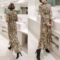 Flower Patterns Flared Street Style Long High-Neck Oversized
