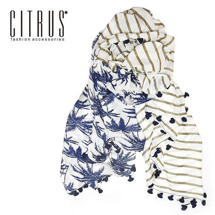 Tropical Patterns Silk Tassel Lightweight Scarves & Shawls