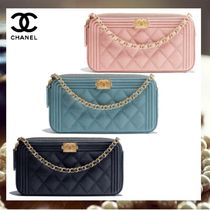 CHANEL BOY CHANEL Calfskin Chain Plain Party Style Clutches