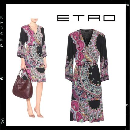 Wrap Dresses Flower Patterns Paisley V-Neck Long Sleeves