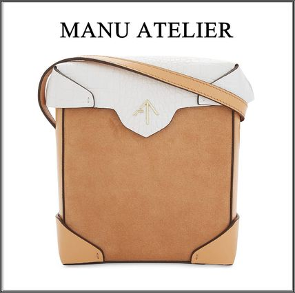 Casual Style Bi-color Leather Shoulder Bags