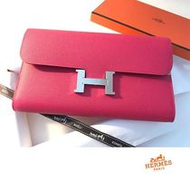 HERMES CONSTANCE 18SS Constance Long Rose Extreme veau Epsom Long Wallet