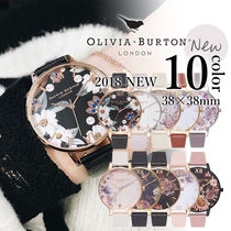 Olivia Burton Leather Round Quartz Watches Elegant Style Analog Watches