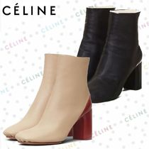 CELINE Round Toe Leather Ankle & Booties Boots