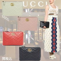GUCCI GG Marmont 2WAY Plain Leather Elegant Style Clutches