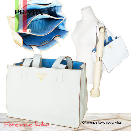 Talco White/Astrale Blue Bi-Color Vitello Daino Tote Bag