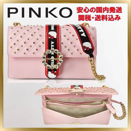 Casual Style Studded Chain Shoulder Bags