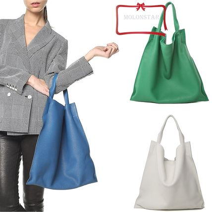 Casual Style Calfskin Plain Totes
