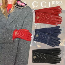 GUCCI GG Marmont Plain Leather Elegant Style Leather & Faux Leather Gloves