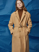 AGENDER Unisex Wool Plain Long Office Style Oversized Duffle Coats