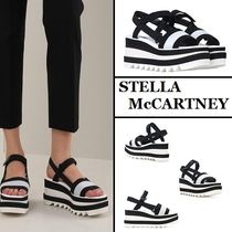 Stella McCartney Stripes Square Toe Rubber Sole Casual Style Heeled Sandals