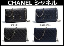 CHANEL 3WAY Chain Plain Leather Elegant Style Shoulder Bags