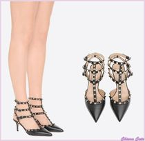 VALENTINO Round Toe Blended Fabrics Studded Plain Leather Pin Heels
