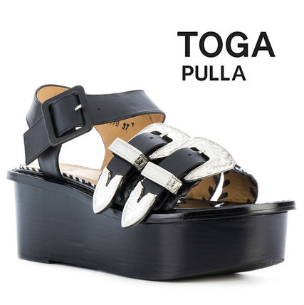 Open Toe Platform Plain Leather Elegant Style