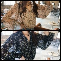 Flower Patterns Puffed Sleeves Medium Oversized