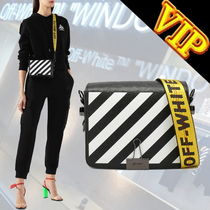 Off-White BINDER CLIP Stripes Casual Style Unisex 3WAY Leather Shoulder Bags