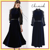 Chicwish A-line Velvet Cropped Plain Long High-Neck Elegant Style