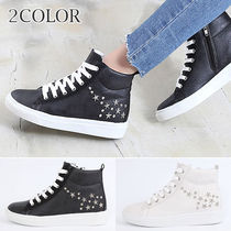 Wedge Round Toe Lace-up Casual Style Faux Fur Studded Plain