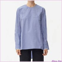 CELINE Gingham Casual Style Long Sleeves Cotton Shirts & Blouses