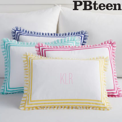 Pottery Barn 2017 18aw Stripes Plain Fringes Decorative Pillows By