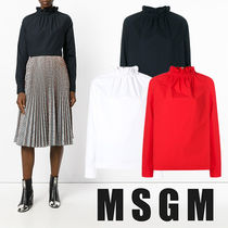 MSGM Casual Style Long Sleeves Plain Cotton Shirts & Blouses