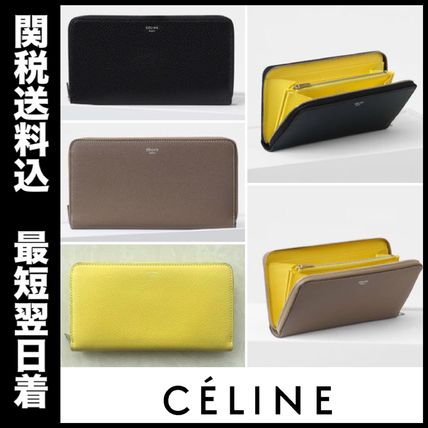 Calfskin Plain Long Wallets