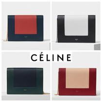 CELINE Frame Calfskin 2WAY Plain Party Style Clutches