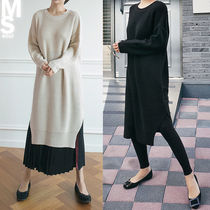 Street Style U-Neck Long Sleeves Plain Long Office Style