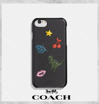 Coach Unisex Plain Other Animal Patterns Leather Smart Phone Cases